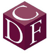 The burgundy cube logo of the Cultural Diversity Foundation